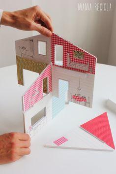 Mamà recicla Cardboard Dollhouse, Cardboard Toys, Paper Toys, Paper Crafts, Modern Dollhouse, Diy Dollhouse, Dollhouse Miniatures, Diy Niños Manualidades, Doll Crafts