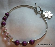 Purple Passion DIABETES Medical Alert Bracelet. $22.00, via Etsy.