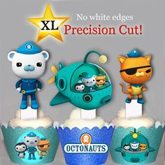 Love the cup cake holders XL Octonauts EDIBLE 12 cupcake cake Toppers 12 designs PRE-CUT