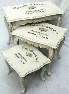 Painted Vintage Nesting Tables---I have a bedside table and chair you could do over to match
