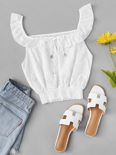 Shop Tie Neck Ruffle Trim Top at ROMWE, discover more fashion styles online. Summer Outfits, Cute Outfits, Top P, Ruffle Trim, Aesthetic Clothes, Romwe, Casual Wear, Crop Tops, Beach