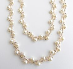 Pearl rope necklace seed bead choker : cream pearl necklace long necklace beaded pearl by SlaveToBeads Long Pearl Necklaces, Beaded Choker Necklace, Rope Necklace, Pearl Bracelet, Cross Necklaces, Teardrop Necklace, Wire Earrings, Crystal Necklace, Bead Jewellery