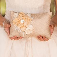 Chic Burlap Ring Pillow