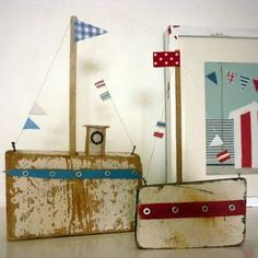 sixty one A: I do like to be beside the seaside! Sea Crafts, Crafts To Make, Arts And Crafts, Driftwood Art, Driftwood Ideas, Boat Art, House By The Sea, Wood Scraps, Found Art