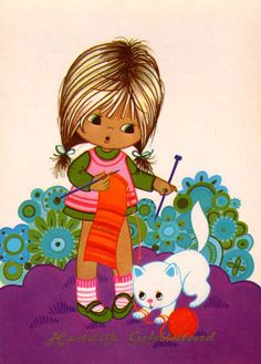 Postcard vintage 70s, big eye doll card. Sweet girl wants to knit, but her cat…
