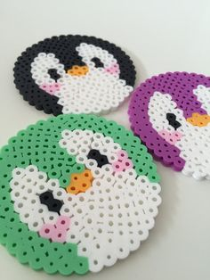 Cute Penguin Perler Bead Coasters Set of 3 by PixelPrecious