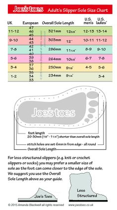 Joe's Toes adult slipper size chart. Shoe size conversion chart adult sizes.  Converts UK to US to continental sizes and gives length in mm and inches.