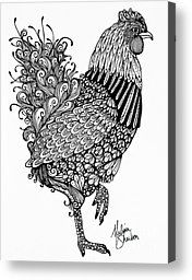 zentangle animals | Zentangle Animal Canvas Prints - Fanciful Chicken Canvas Print by ...