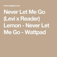 Never Let Me Go (Levi x Reader) Lemon - Never Let Me Go - Wattpad