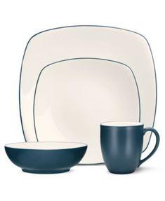 Noritake Dinnerware, Colorwave Turquoise Square 4 Piece Place Setting