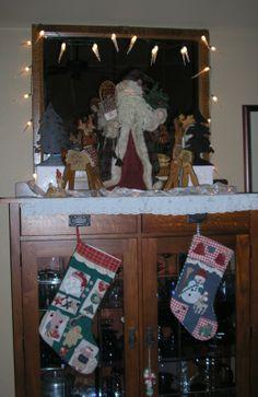 """My """"mantle"""": santa, reindeer, and stockings."""