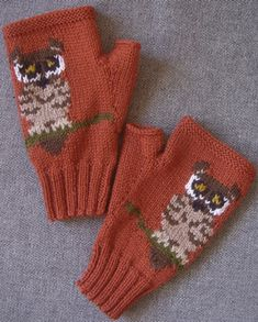 PDF knitting pattern for a pair of fingerless mitts/gloves with a Tiny Owl sitting on a branch on the front of each mitt. The backs of the mitts are plain.