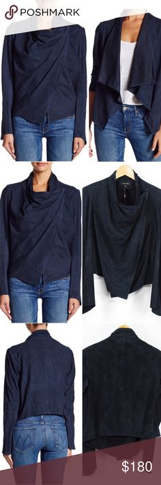 """LaMarque Cascading Moto Front Suede Leather Jkt 52 LaMarque Women's Navy Statement-making jacket rendered in rich leather, Cascading lapels, Shoulder hook-and-eye closure, Long sleeves, Asymmetrical hem, Unlined Retails $425 Size: M Medium  Shoulder: 14""""  Sleeves: 24.5""""  A2A: 22.75""""  Length: 19""""  Leg Open: """"  Color: Navy Pattern: Solid Material: Goat suede with 68% rayon, 27% nylon, 5% spandex contrast WT: 1.01 CSKU: N52; 45 Jacket on model is for styling/fit reference only. All measurements…"""