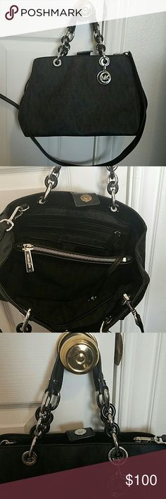 Michael Kors Black Initial Purse Black Initial MK Purse.  Silver and Black chain straps.  Excellent condition. ?? Michael Kors Bags Satchels