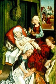 Sleeveless kirtle; apron with neck drawstring in the front is neat, too.  (from Birth of Rochus, 1475-1485, Germany)