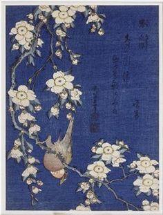 "Japanese Ukiyo-e Woodblock print, Katsushika Hokusai, ""A Bullfinch and A Dropping Cherry Tree"" Collage Kunst, Art Encadrée, Art Chinois, Art Asiatique, Bullfinch, Katsushika Hokusai, Art Japonais, Japanese Painting, Japanese Prints"