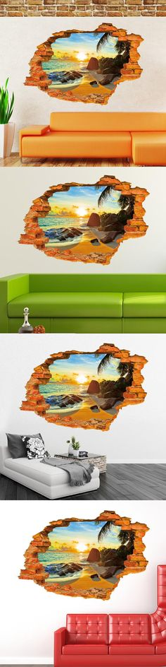3d Sunny Beach scenery window wall stickers home decoration diy room accessories living wall decorative vinyl wall stickers $6.99