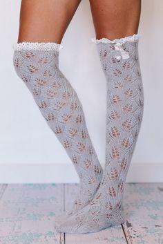 ruffled knit over the knee socks
