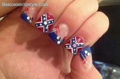 12 Southern Pride Rebel Flag Nails-6 - Best Celebrity Style
