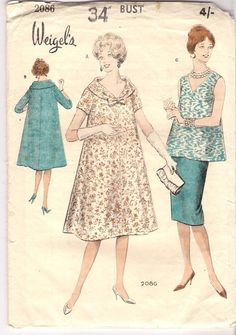 Weigel's Sewing Pattern 2086, Rare Vintage Circa 1950's Maternity Dress 34 Bust  #Weigels