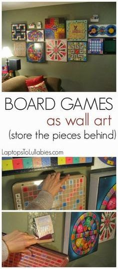 Board games on the wall !!  What a great idea.  The game pieces are stored on the back so you can simply take the game down to play.  This person is so creative.   Laptops to Lullabies: Our organized toyroom + a board game wall