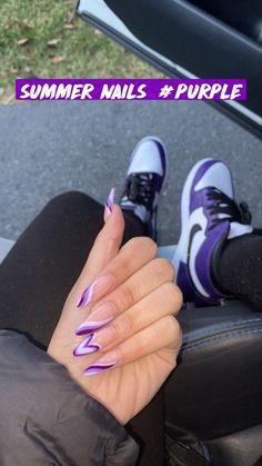 Purple Acrylic Nails, Acrylic Nails Coffin Short, Summer Acrylic Nails, Best Acrylic Nails, Purple Nails, Coffin Nails, Summer Nails, Gel Nails, Edgy Nails