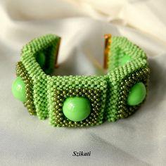 Beaded #green seed bead cuff bracelet Right Angle Weave by Szikati, $110.00 #beadart