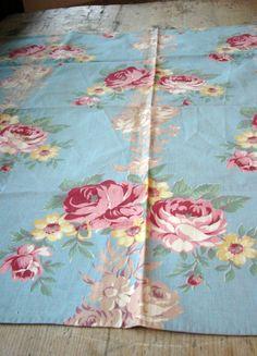 2 Pcs Vintage Cabbage Rose Cotton Broadcloth by VintageZipper, $10.00