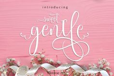 Sweetgentle Font -  SWEETGENTLE is a new modern calligraphy typeface built in 750 glyphs. It has opentype features with PUA encode. of course this is a smart font works with poluler design software like Photoshop, Coreldraw, Illustrator, Microsoft Office, ect. This Modern Calligraphy typeface welcomes you to use it for various purposes such as logo, card, wedding invitation, headings, signatures, t-shirt, letterhead, cutting, hot stamping, signage, labels, posters and more. @creativework247
