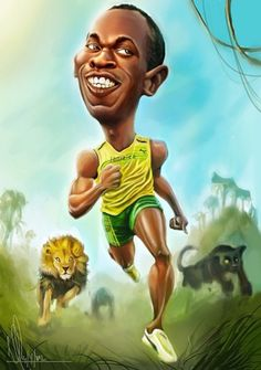 Such a great caricature. Funny Caricatures, Celebrity Caricatures, Cartoon Art, Cartoon Characters, Caricature Art, Persona Anime, Usain Bolt, African American Art, Sports Art