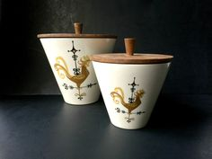 Awesome Mid Century Ceramic Kitchen Canisters. by GatewayHeirlooms