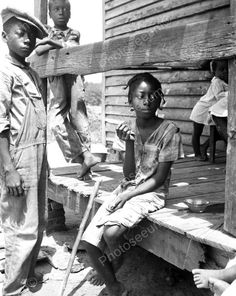 Black Children Sitting On Porch Reprint 8x10 Reprint Of Old Photo