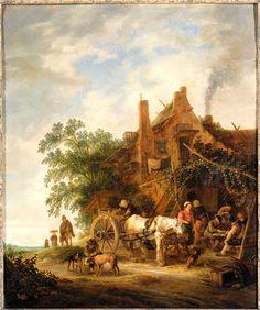 Isaac van Ostade - Boerenherberg met paard en wagen