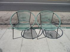 Pair of Hoop Chairs Blue Hoop Chairs Outdoor Patio Furniture Mid Century Modern Patio Furniture Patio Chair on Etsy, $695.00