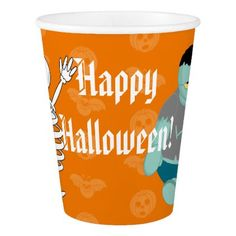 Cute fun cartoon of a green Halloween zombie Paper Cup - home gifts ideas decor special unique custom individual customized individualized