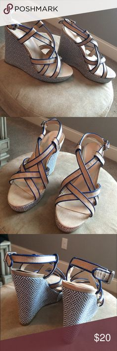 Blue & Tan Herringbone Pattern Wedges Very cute wedge heels that have only been worn a few times. Last pic shows what looks like glue stains that are not noticeable when worn. 5 inch heels *Actual size is 6.5 but they run small so I have listed as a 6* The Limited Shoes Wedges