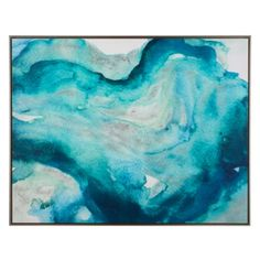 Deep Water Current from Z Gallerie 60x47 in silver floating frame above sectional