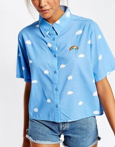 Image 3 of Lazy Oaf Short Sleeve Shirt In Rainbow Clouds Print Source by erinmaguire_ idea drawing Mode Style, Style Me, Mode Hipster, Mode Kawaii, Mode Chanel, Cool Outfits, Fashion Outfits, Moda Vintage, Loose Shirts