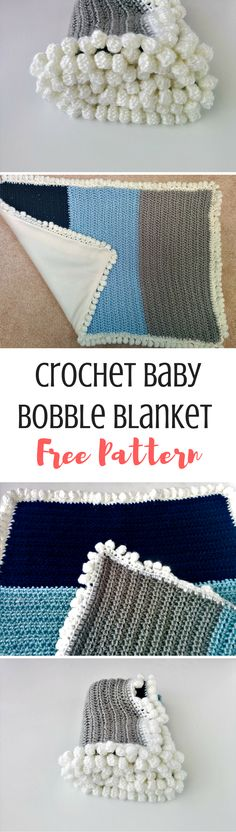 A quick and easy crochet blanket perfect for on the go! This is stroller sized and has a fun bobble edging!