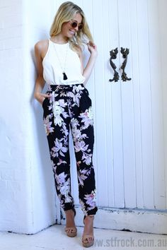 Lilac Lover Lounge Pants $59  Shop online > > > http://stfrock.com.au/sale-en/pants-and-jeans-en/  Floral print meets edge meets comfort! The Lilac Lover Lounge Pants is a 100% rayon, light and soft pair of pants you can wear to the office and out of office. It's a neat, slightly loose fitting cut, but with the waist band and elastic band at the back of the ankle it keeps things comfy but neat. Contrasting to the tender lilac print, the black base brings through the edgy factor.