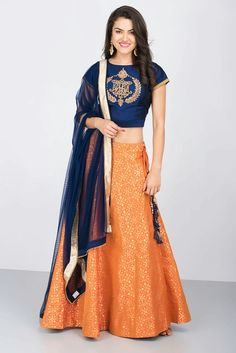 ZARI - blue and orange lehenga