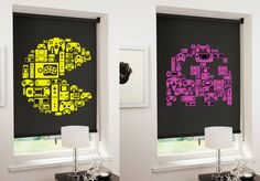 Retro 8-bit roller blinds with images made of video game controllers.