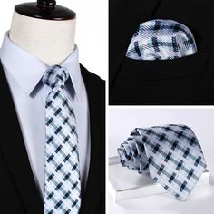 """NeckTie - Blue White Plaid 3.4"""" Silk Necktie and Handkerchief Set @runit365 #tie #classy #tieoftheday"""