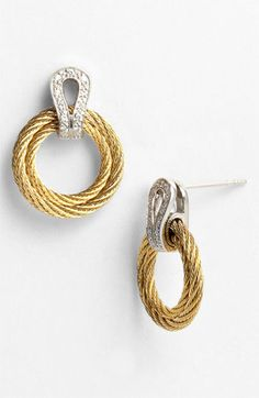 Charriol 'Classique' Diamond Frontal Hoop Earrings available at #Nordstrom