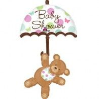 "Shower your party with our Hugs and Stitches Baby Shower Balloon! This shaped balloon features a teddy bear hanging from an umbrella that reads ""Baby Shower."" It's a sweet addition to your baby shower decorations! Baby Shower Balloon Decorations, Baby Shower Balloons, Baby Shower Parties, Baby Boy Shower, Shower Party, Party City Balloons, Mylar Balloons, Balloon Party, Foil Packaging"