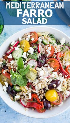 Mediterranean Farro Salad - a simple, delicious, and healthy recipe that's great for picnics, barbecues, and weeknight dinners.  via @easyasapplepie
