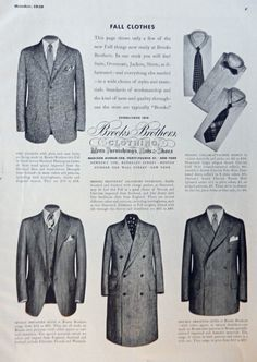 Brooks Brothers Clothing  Vintage Print Ad  30 s B W Illustration  men s fashions  Original  Art