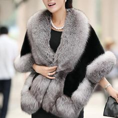 Casaco De Pele Feminino Women's Winter Jackets 2016 Fashion Half Sleeve Fox Fur shawl Coat Of Artificial Fur Casaco De Fur Cape, Cape Coat, Poncho Coat, Faux Fur Collar, Fur Collars, Manteau Vison, Dress With Shawl, Capes For Women, Fox Fur Coat