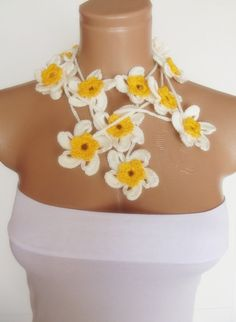 hand crocheted floral scarf lariat white yellow by smilingpoet, $21.90