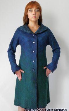 photo 3 of 4 nuno felted coat PEACOCK COAT handmade felted by kantorysinska